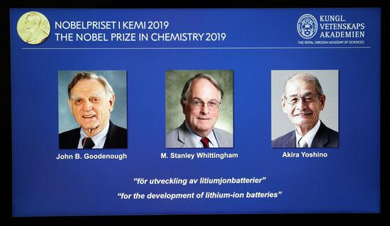 Information of the laureates are displayed at the announcement of the 2019 Nobel Prize in Chemistry at the Royal Swedish Academy of Sciences in Stockholm, Sweden, Oct. 9, 2019.(Xinhua/Zheng Huansong)