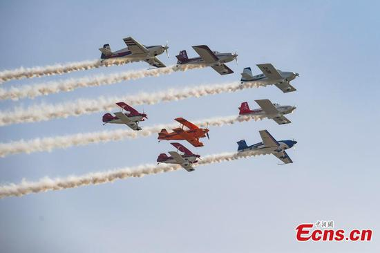 Aerobatic show celebrates general aviation event in Taiyuan