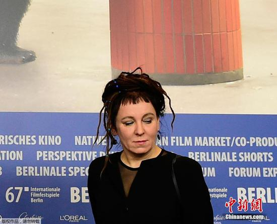 n this file photo taken on February 12, 2017 Polish author Olga Tokarczuk attends the press conference for the film