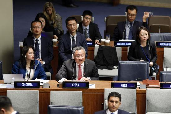 Fu Cong (C), head of the Department of Arms Control of the Chinese Foreign Ministry, addresses a plenary meeting of the First Committee of the United Nations General Assembly, at the UN headquarters in New York, on Oct. 11, 2019. (Xinhua/Li Muzi)