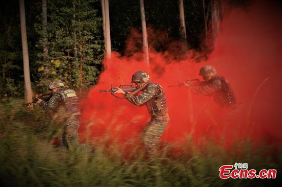 Armed police training underway in Guangxi forest