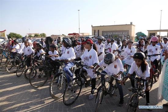 Cycling event held to mark Int'l Day of Girl Child in Karachi, Pakistan