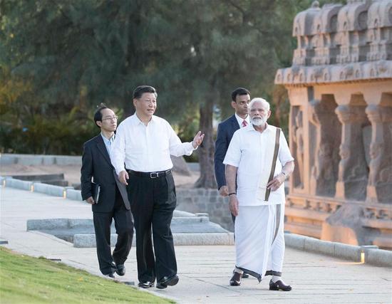 Xi, Modi visit cultural monuments in Mamallapuram, India