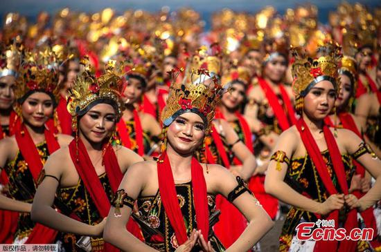 Traditional parade dance 'Gandrung Sewu' performed in East Java, Indonesia