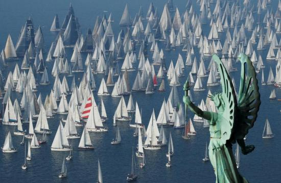 Hundreds of sailing boats race in Italy's Barcolana Regatta