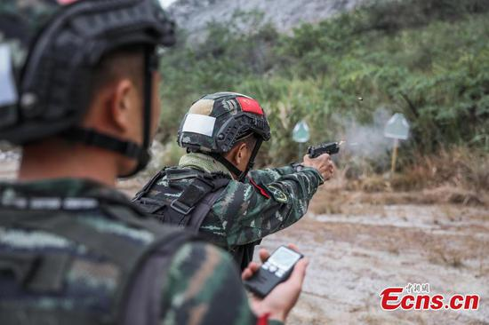 Armed police undergo shooting training