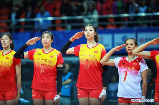 Women's volleyball preliminary at 7th CISM Military World Games: China vs. United States