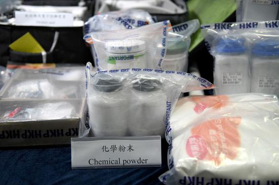 The Hong Kong police show at a press conference on Oct. 16, 2019 the materials used to make petrol bombs which were seized recently. (Xinhua)