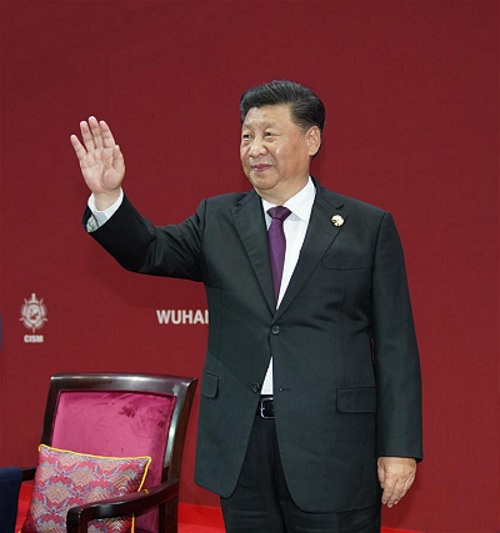 Chinese President Xi Jinping, also general secretary of the Communist Party of China (CPC) Central Committee and chairman of the Central Military Commission (CMC), attends the opening ceremony of the 7th Military World Games in Wuhan, capital of central China's Hubei Province, on Oct. 18, 2019. Xi declared the Games open on Friday evening. (Xinhua/Li Gang)