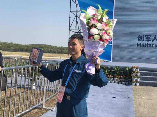Liao Weihua wins the gold medal in the flying contest of the aeronautical pentathlon at the seventh CISM Military World Games in Wuhan, Hubei province on Oct. 19, 2019. (Photo by Zhang Yangfei/chinadaily.com.cn)