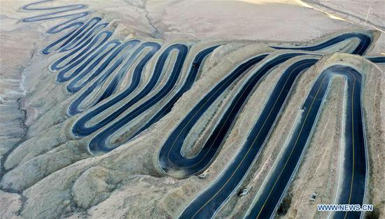 Aerial view of 'plateau sky road' in Xinjiang