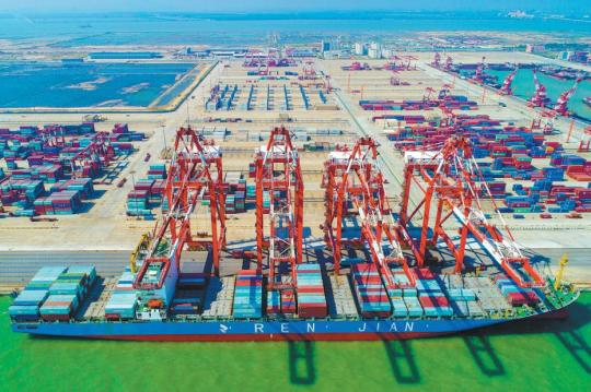 The container port of the Nansha Free Trade Area in Guangzhou, capital of Guangdong Province. (Photo provided to China Daily)
