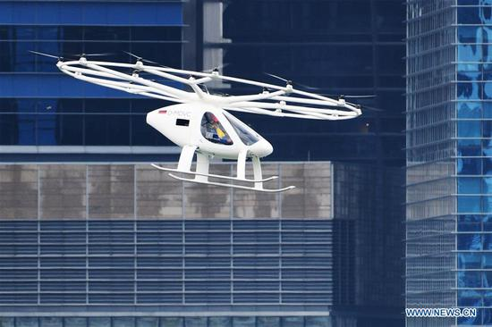Volocopter air taxi flies over Marina Bay in Singapore