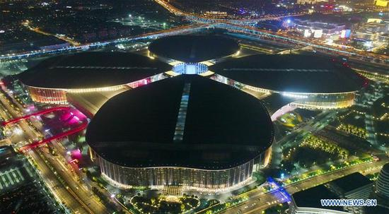 Night view of venue of 2nd CIIE in Shanghai