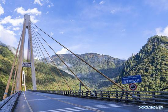View of Polonggou grand bridge in SW China's Tibet