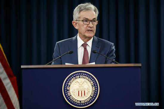 U.S. Federal Reserve Chairman Jerome Powell speaks during a press conference in Washington D.C., the United States, on Oct. 30, 2019. (Photo by Ting Shen/Xinhua)