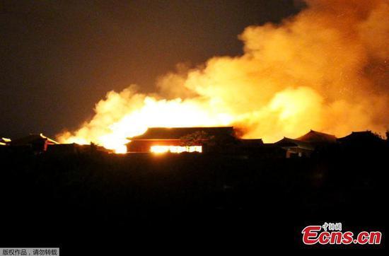 Fire engulfs Okinawa's historic Shuri Castle