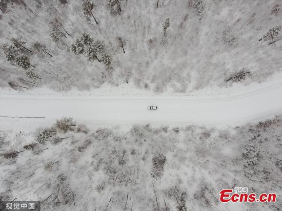 Early snow comes to China's northernmost city Mohe