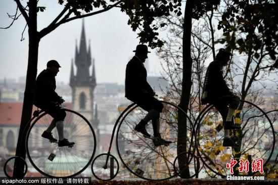Traditional penny farthing bicycle race in Czech Republic