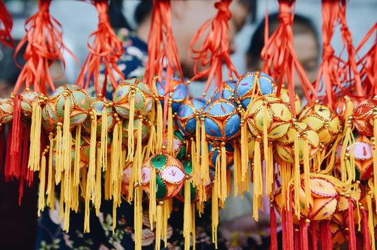 Chinese embroidered balls shine in Jiuzhou, Guangxi