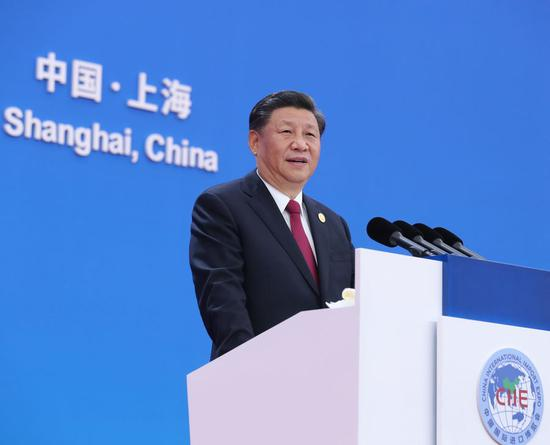 Chinese President Xi Jinping delivers a keynote speech at the opening ceremony of the second China International Import Expo (CIIE) in Shanghai, east China, Nov. 5, 2019. The second CIIE kicked off Tuesday at the National Exhibition and Convention Center in Shanghai. (Xinhua/Ju Peng)