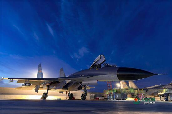 PLA Air Force drill at night
