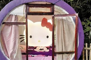 Rural man builds Hello Kitty-themed cabin for daughter
