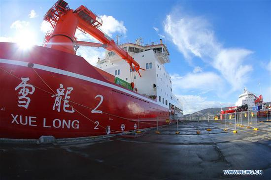 China's polar icebreaker Xuelong 2 docks at port of Hobart, Australia