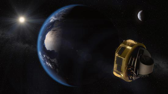 An artist's concept of the European Space Agency's ARIEL spacecraft on its way to Lagrange Point 2 (L2) - a gravitationally stable, Sun-centric orbit - where it will be shielded from the Sun and have a clear view of the sky. /NASA Photo