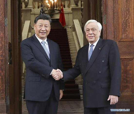 Chinese President Xi Jinping holds talks with Greek President Prokopis Pavlopoulos in Athens, Greece, Nov. 11, 2019. (Xinhua/Yao Dawei)