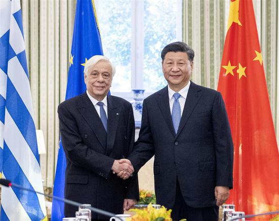 Chinese President Xi Jinping holds talks with Greek President Prokopis Pavlopoulos in Athens, Greece, Nov. 11, 2019. (Xinhua/Li Xueren)