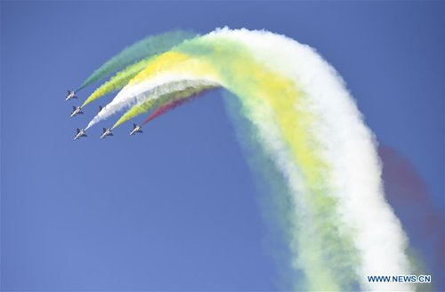 The Bayi (August 1) Aerobatic Team performs during an activity celebrating the 70th founding anniversary of the Chinese People's Liberation Army (PLA) air force in Changchun, capital of northeast China's Jilin Province, Oct. 17, 2019.(Xinhua/Zhang Nan)