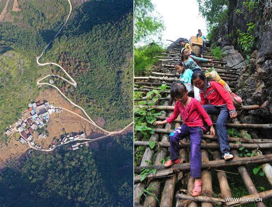 中国西南偏远山区的村民受益于新建道路