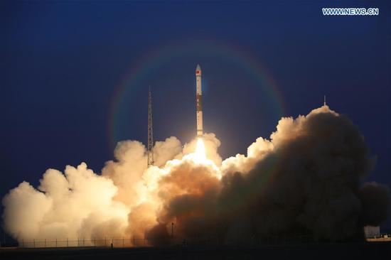 Two global multimedia satellites, KL-a-A and KL-a-B, are launched by a Kuaizhou-1A (KZ-1A) carrier rocket from the Jiuquan Satellite Launch Center in Jiuquan, northwest China's Gansu Province, Nov. 17, 2019. (Photo by Ma Chongpeng/Xinhua)