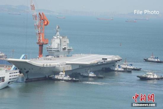 China's home-built aircraft carrier sails through Taiwan Strait