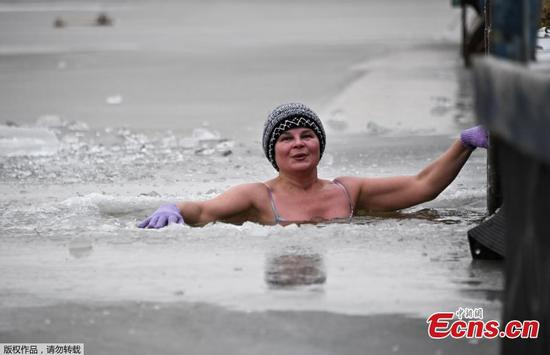 Going for an ice swim in Russia
