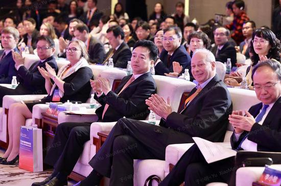 Yang Xiaowei (center), deputy head of the Cyberspace Administration of China, is seen at the opening ceremony of the forum. (Photo by Zhu Xingxin/chinadaily.com.cn)