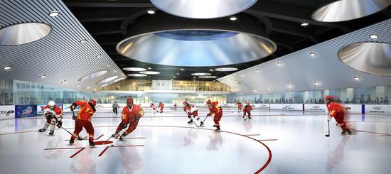 An artist's illustration shows the interior of the new underground ice rink at Beijing's Olympic Park. [China Daily]