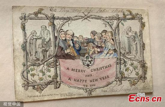 World's first printed Christmas card goes on display in time for festive season