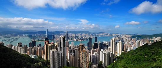 Photo taken from The Peak shows the aerial view of Hong Kong, China. (Xinhua)