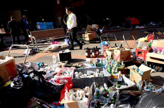 Photo taken on Nov. 21, 2019 shows dangerous goods such as petrol bombs abandoned on the campus of Hong Kong Polytechnic University (PolyU) in south China's Hong Kong. (Xinhua)