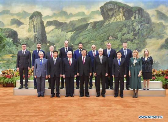 Chinese President Xi Jinping, also general secretary of the Communist Party of China (CPC) Central Committee, meets with a delegation of the United Russia party led by Chairman of the United Russia's Supreme Council Boris Gryzlov at the Great Hall of the People in Beijing, capital of China, Nov. 25, 2019. (Xinhua/Li Tao)