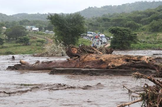 The photo shows a section of the flooded River Sebit in West Pokot County, Kenya, Nov. 23, 2019. (Xinhua/Fred Mutune)