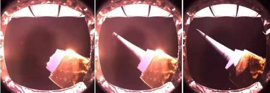 This combination photo shows the unfolding process of the antennas of the low-frequency radio spectrometer on the relay satellite. (Provided to Xinhua)