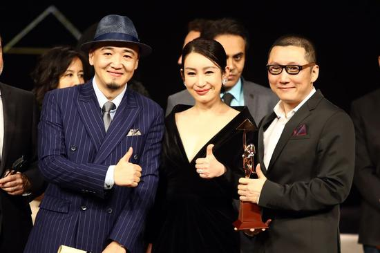 Director Zhang Chong (L) and Zhang Bo (R) of Chinese movie