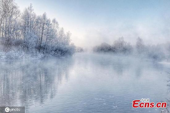 Amazing rime scenery seen at Kurbin River in NE China