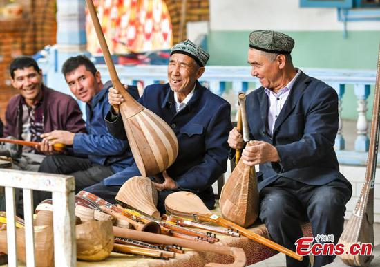 Village known for making Uygur musical instruments