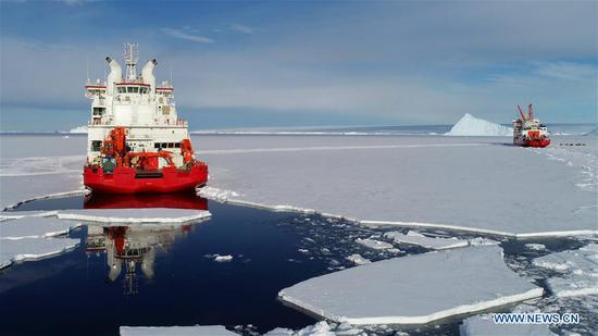 China's icebreakers Xuelong and Xuelong 2 at area close to China's Zhongshan Station