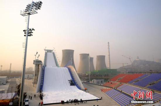 Shougang ski ramp in Beijing will make its debut at Air & Style World Cup to be held from Dec. 12 to 14. (Photo/China News Service)