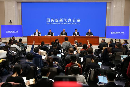 A new conference on Xinjiang-related affairs is held at State Council Information Office on Dec 9. (Photo/China Daily)